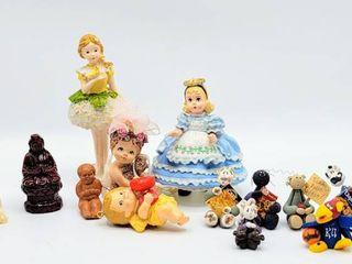 14  Piece lot   Variety of Figurines including Miniature Clay Figures   KU Jayhawk clay figure