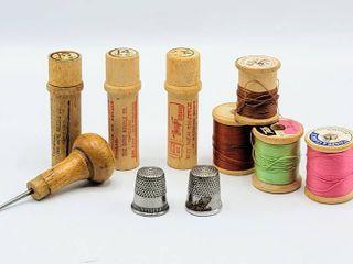 3  Vintage Boyer Brand Needle Cases  Thimbles  Thread   more