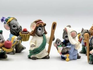 Complete Set of 9 MouseKins Nativity Figurines with Original Box