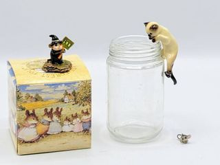 Wee Forest Folk lITTlE BOO by Donna Petersen 1996 w Original Box   Siamese Cat Bowl Pot Hanger and Miniature Mouse Figurine