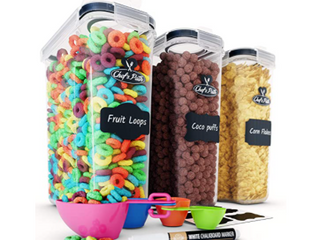 Chef s Path cereal storage container set 4 Piece set four piece Spoon set  chartboard labels and markers