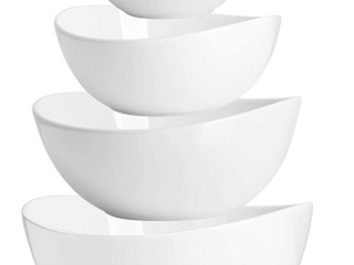 SWEESE  6 PIECES WHITE CERAMIC BOWlS SET