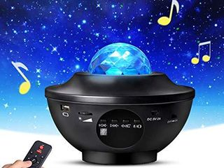 Night light Projector with Remote Control  Eicaus 2 in 1 Star Projector with lED Nebula Cloud Moving Ocean Wave Projector for Kid Baby  Built in Music Speaker  Voice Control  Multifunctional  Black