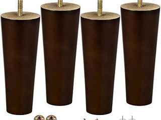 Wood Furniture Sofa Feet legs 6 Inch Set of 4 for Couch Cabinet Chair Brown Replacement Extenders with Hardware Kit Attachment Mounting Plates M8 Bolts and Screws   Easy to Install