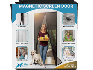 FlUX PHENOM MAGNETIC SCREEN DOOR  26 magnets  hands free entry pet friendly heavy duty mesh quick and easy to install