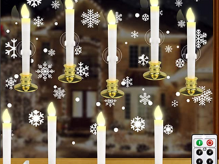 KITHOUSE  lED white candles with removable gold base set of 12