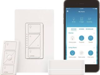 lutron P BDG PKG1W Caseta Wireless Dimmer Kit with Smart Bridge  White