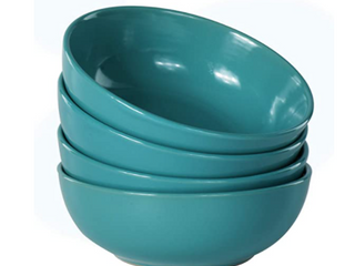 Ceramic Home   4Pc   21oz  Dinner Bowls   Teal