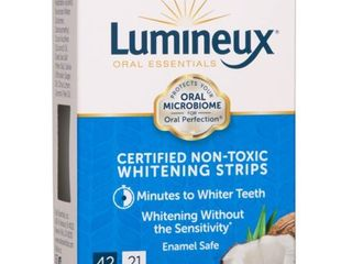 lumineux Oral Essentials Teeth Whitening Strips 42 Strips  21 Treatments Certified Non Toxic Sensitivity Free Whiter Teeth 7 Days NO Artificial Flavors  Colors  SlS Free  Dentist
