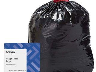 Amazon Brand   Solimo Multipurpose Drawstring Trash Bags  30 Gallon  50 Count Single