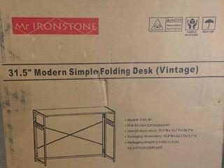 Mr  Ironstone   31 5  Modern Simple Folding Desk  Vintage    Gray