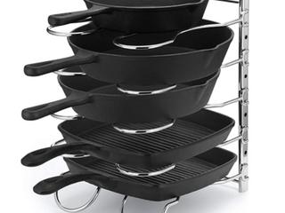 CAXXA Heavy Duty Pan And Pot Rack W  Adjustable Dividers  Chrome