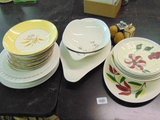 Assorted glassware plates and bowls