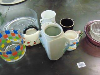 lot of assorted glass bowls and vases