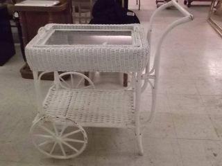 wicker cart w glass showcase