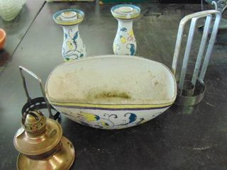 small brass hurricane lamp base  candle holders and bowl