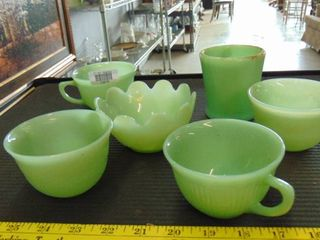 lot of assorted green glassware