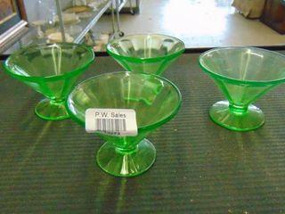 4 green dessert glasses