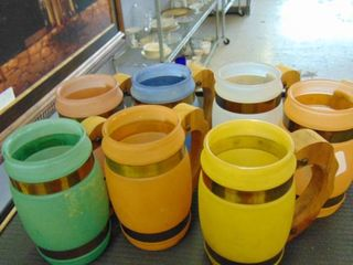 lot of 7 colorful mugs vintage