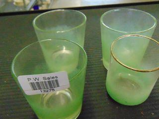 4 green glasses