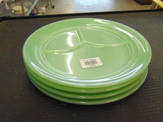 4 green divided plates
