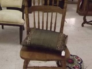 wood side chair   embroidered foot stool