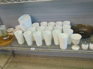lot of assorted glassware  white glass pitcher and glasses