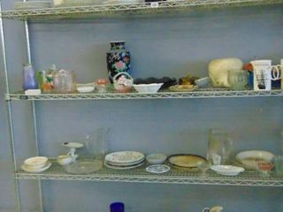 lot of assorted glass ware  rack not included