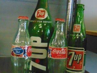 lot of assorted vintage soda bottles