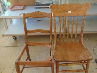2 wood side chairs