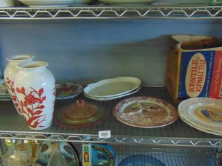 lot of assorted glass platters  plates and vases
