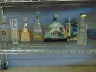 lot of assorted decanters and blue glass bowl