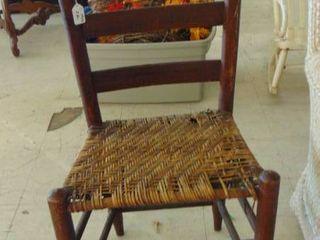 wood side chair w wicker base