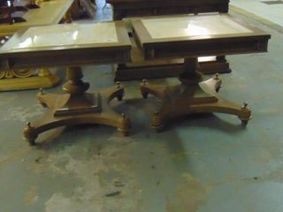 set of 2 stone top end tables