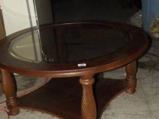 round coffee table   cherry wood w glass