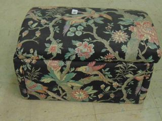 Upholstered foot stool with storage  blanket and others