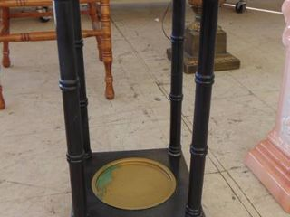 black wood and glass plant stand