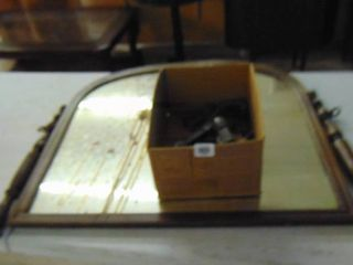 Antique dresser mirror and box of tools