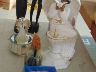 lot of various  figurines  statues  chicken bank and more