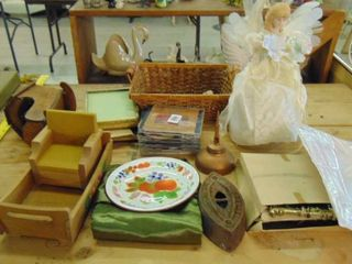 lot of various  miniature furniture  CDs  Christmas angel   metal frames  metal outlet covers and more