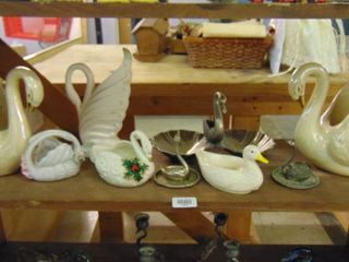 lot of various swan figurines  vases and trays