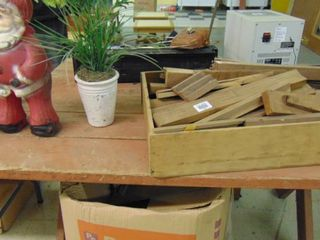 Vintage Santa statue  tray of wood scraps  fake plant