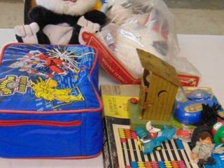lot of various toys and bag