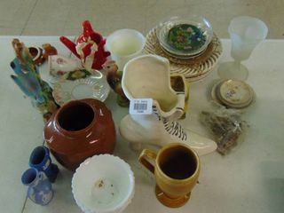lot of various glassware  vases  cups and plates
