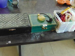 lot of 2 jewelry boxes  costume jewelry  perfume bottle