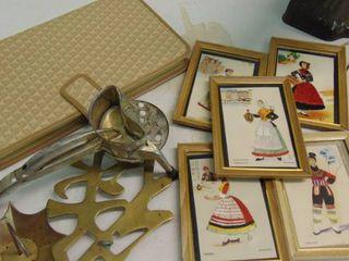 make up palette  brass trivet  pictures