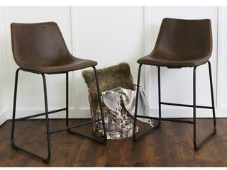 Walker Edison 2 Industrial Faux leather Counter Stools   Set of 2