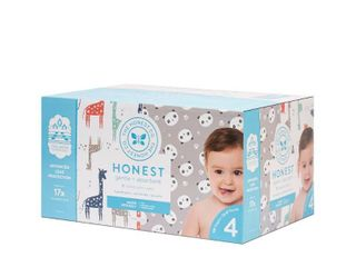 The Honest Company Disposable Diapers Super Club Box Pandas   Giraffes   Size 4   120 Pack