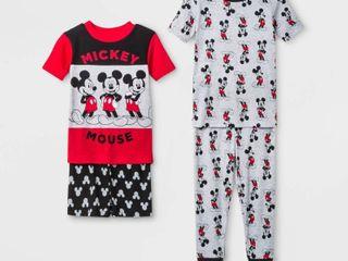 Toddler Boys  4pc Disney Mickey Mouse Pajama Set   Red Black Gray 2T  Black Gray Red   set of 2