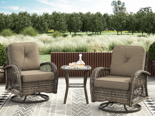 Brown  Corvus livorno Outdoor 3 piece Wicker Chat Set with Swivel Chairs  Retail 578 49